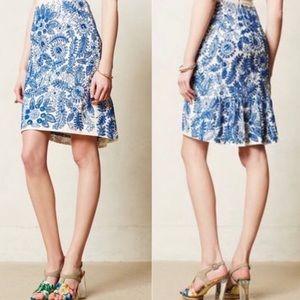 Moulinette Soeurs Blue Sequin Skirt Anthropologie